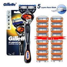 Gillette Fusion Proglide orijinal erkekler manuel tıraş makinesi jilet makinesi tıraş bıçakları 5 katmanlı kasetleri ile değiştirilebilir bıçakları