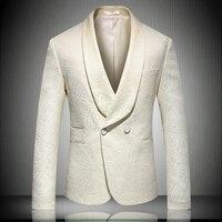 High Quality Men Jacquard Suit Jacket Slim Design Men Business Blazer Coat Asian Size M L XL XXL 4XL 5XL Fashion Dress Suit Man
