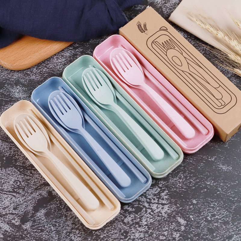 Eco-Friendly Baby Feeding Cutlery Set Tableware 3Pcs Portable Kids Soup Spoon Fork Chopstick Case Safety Camping Picnic Sets