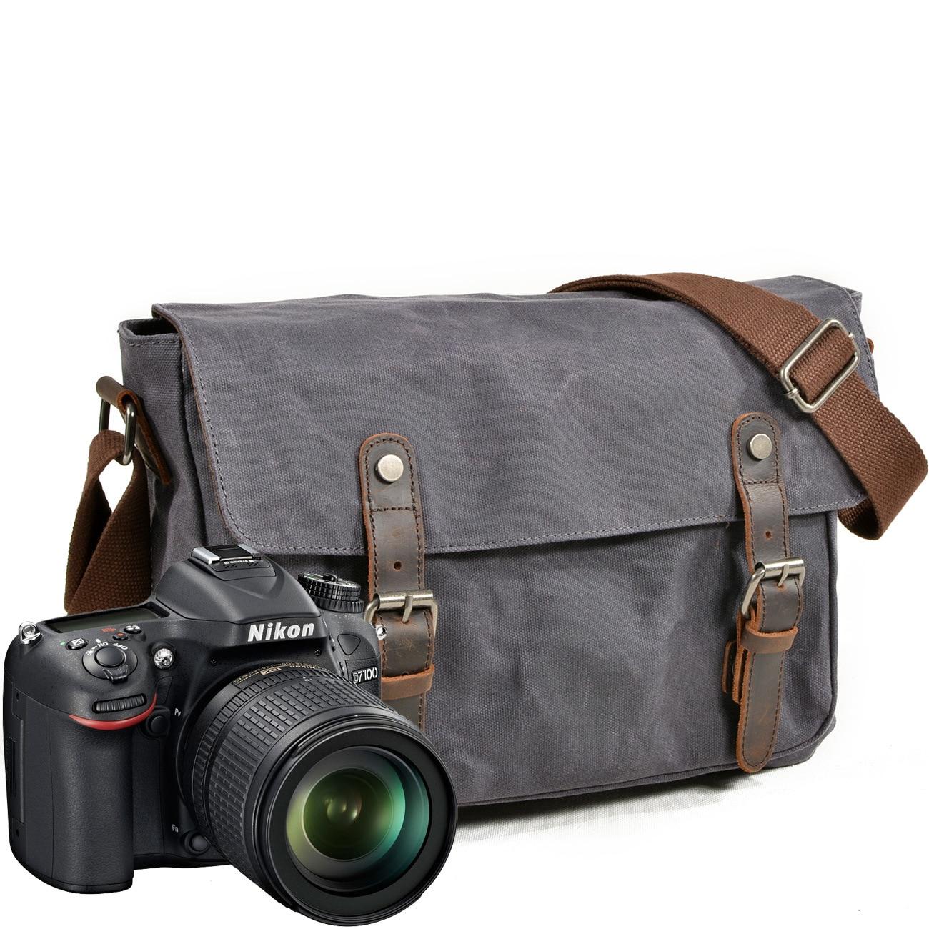 Men/'s Genuine Leather DSLR Camera Sleeve Bag Messenger Bag Cross Body for Nikon