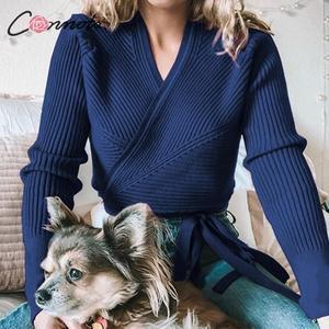 Image 2 - Conmoto ฤดูใบไม้ร่วงฤดูหนาวถักเสื้อกันหนาวผู้หญิงเสื้อกันหนาวสุภาพสตรี Wrap เสื้อกันหนาวแบบสบายๆเสื้อกันหนาวจัมเปอร์ 5 สี