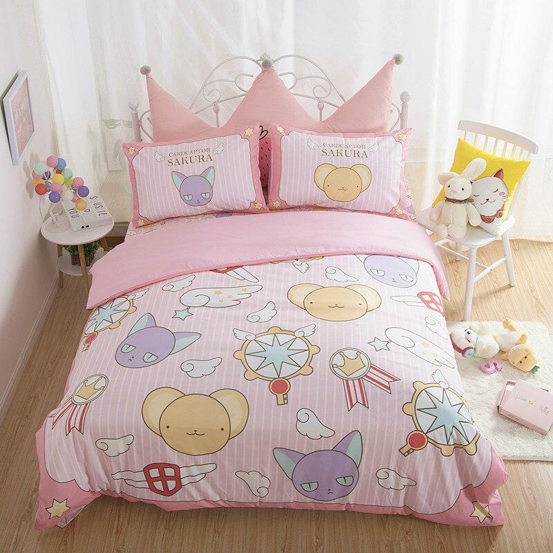 Card Captor Sakura Kero Printed Cotton Plush Children Lovely Cartoon Bed Sheets Quilt Cover Pillowcase Bedroom Decoration Toy