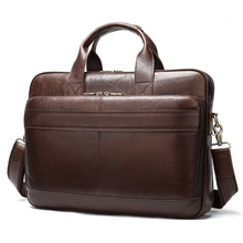 Bag Handbag Briefcase Laptop-Bag Tote Office-Bags Male Men's for Genuine-Leather