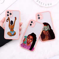 Queen-Fundas protectoras para cámara de niña, Afro, melanina, para iPhone 11 Pro Max XR XS Max X 8 7Plus, cubierta mate a prueba de golpes