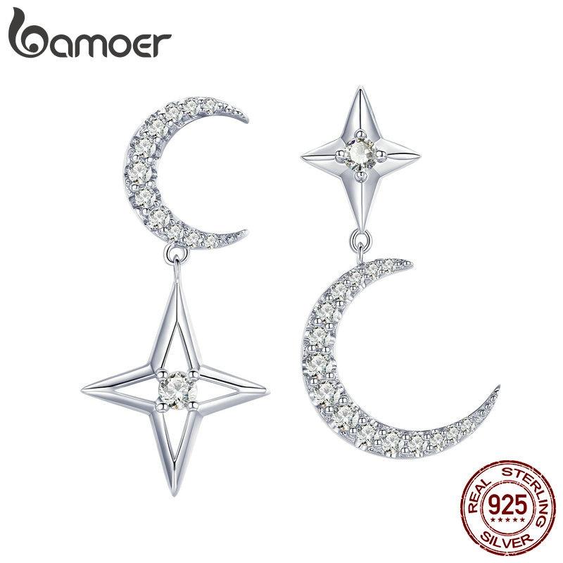 BAMOER Authentic 925 Sterling Silver Moon & Star Dangle Earrings For Women Clear Cubic Zircon Earrings Wedding Jewelry BSE050