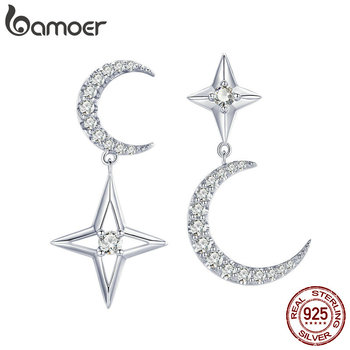 BAMOER 925 Sterling Silver Moon & Star Dangle Earrings