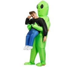 Adulti Alien Gonfiabile Costume verde alien costumi Divertente dei capretti del Vestito Del Partito Del Vestito Operato unisex del partito di cosplay Costume di Halloween