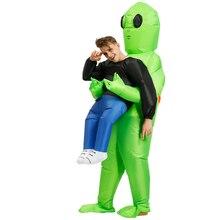 Yetişkin uzaylı şişme kostüm yeşil uzaylı kostümleri çocuklar komik takım elbise fantezi parti elbisesi unisex parti cosplay cadılar bayramı kostüm