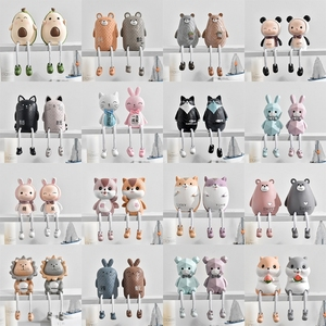 2pcs/Set Cute Animals Style Creative Wall Hanging Foot Doll Resin Crafts Hanging Leg Doll Elf Figurines Home Decoration
