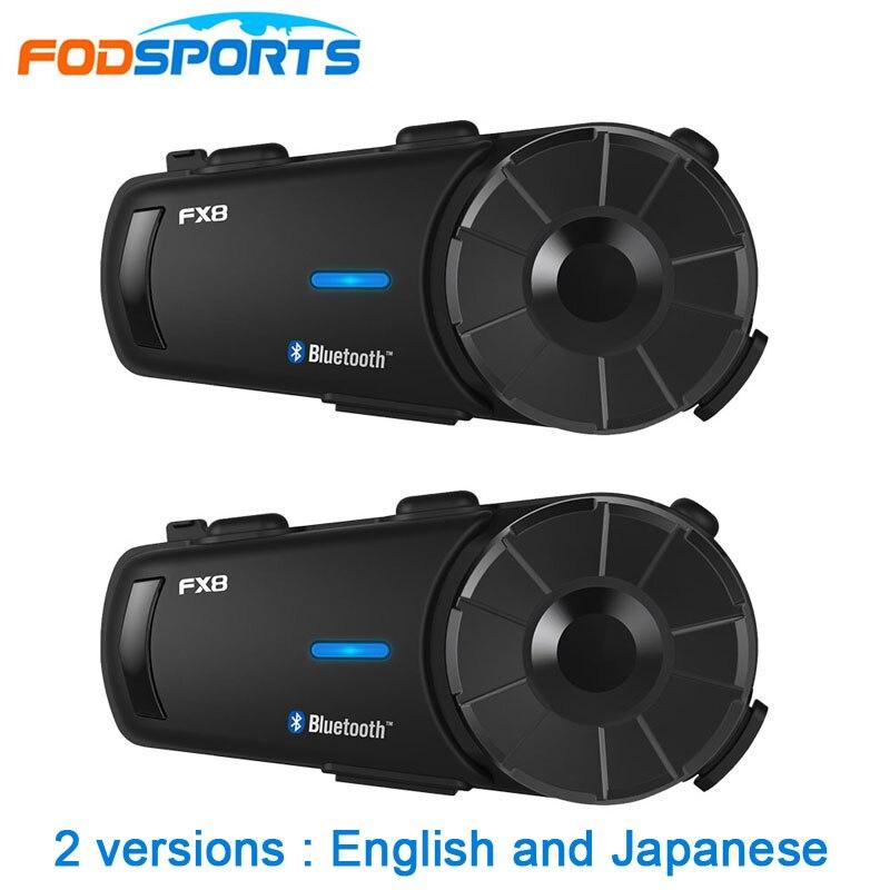 2 Pcs Fodsport FX8 Motorcycle Helmet Headset 8 Riders Group Talk 1000m Bluetooth Moto Intercom Wireless BT Interphone With FM