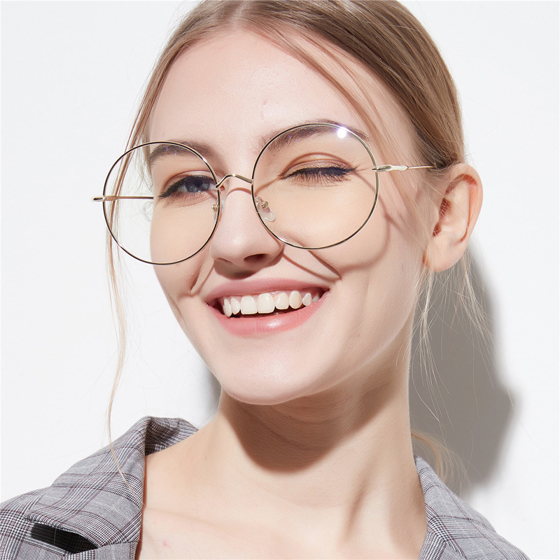 Women Vintage Super Large Round Frame Eyeglasses <font><b>Men's</b></font> Retro Big Metal Optical Finished Myopia <font><b>Glasses</b></font> Eyewear -1.75 -<font><b>2.25</b></font> -2.5 image
