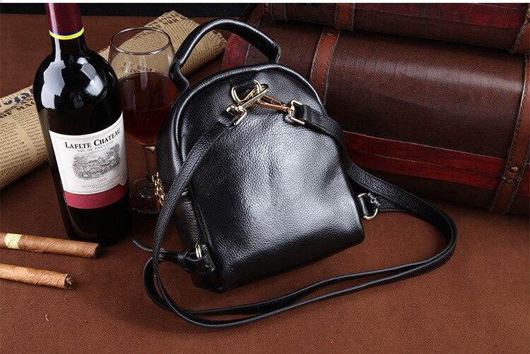 Preto novo estilo feminino mochila de couro