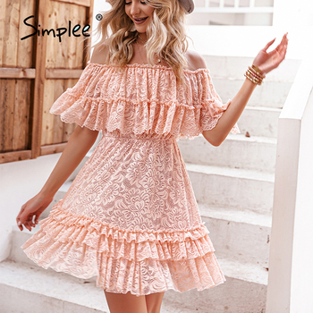 Simplee Solid High Waist One shoulder Summer Women Dress Elegant Lace Ruffled Short Dresses Casual