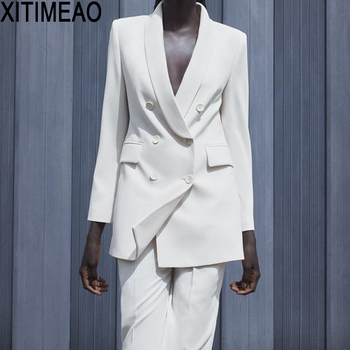 ZA Women 2020 Fashion Office Wear Double Breasted Blazer Coat Vintage Long Sleeve Pockets Female Outerwear Chic Tops