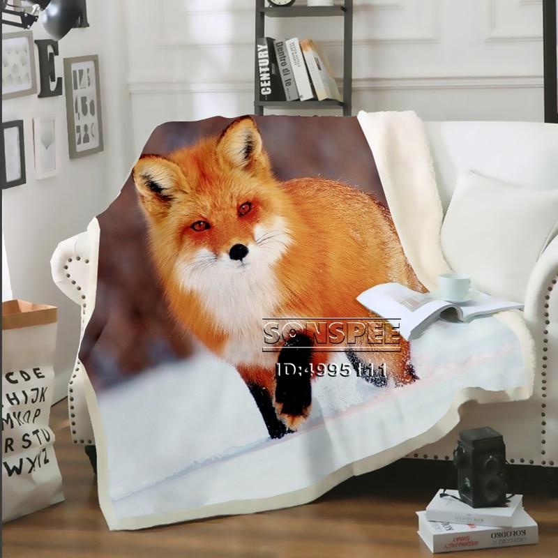SONSPEE 3D Print Red Fox Throw Blanket Sofa Bed Chair Fleece Plush Sherpa Blanket Bedspread Decor Adult Children