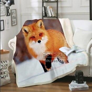 SONSPEE 3D Print Red Fox Throw Blanket Sofa Bed Chair Fleece Plush Sherpa Blanket Bedspread Decor Adult Children oyate graffix star fleece blanket plush 3d printed for adults sofa sherpa fleece bedspread wrap throw blanket