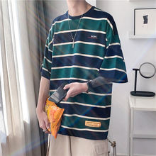 Винтажная полосатая футболка повседневные мужские свободные