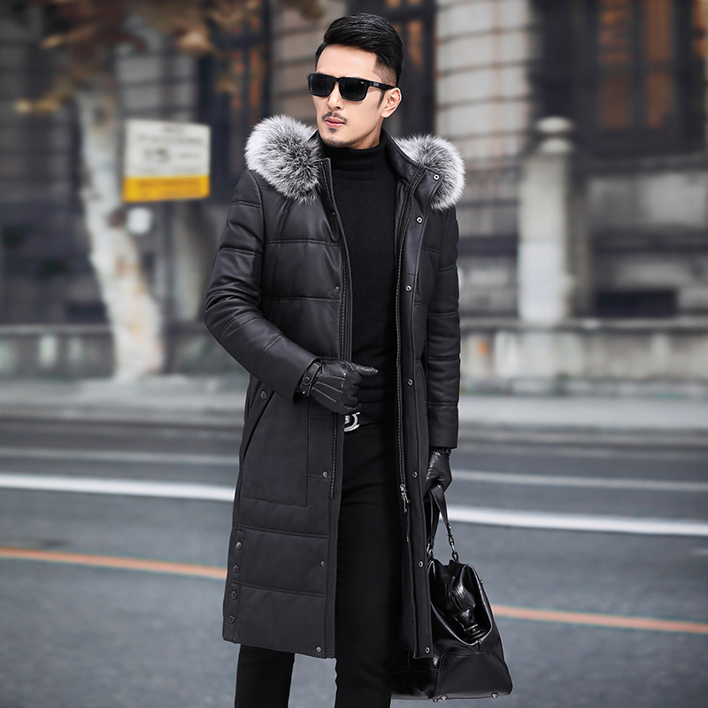 Mens Leather Jacket Sheepskin Genuine Leather Jacket Men 2020 Warm Duck Down Winter Coat Long Chaqueta Cuero Hombre 19007 YY700