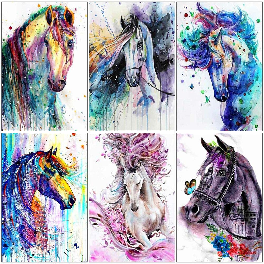 Современная разноцветная животная лошадь Настенная картина на холсте картина постер и печать галерея гостиная домашний декор
