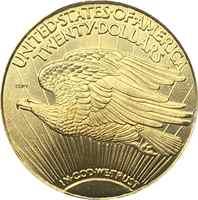 Estados Unidos de América 1916 S 20 dólares Saint-Gaudens-doble águila con lema Moneda de copia de Metal de latón