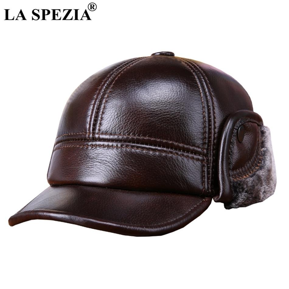 LA SPEZIA hiver casquettes de Baseball avec des oreillettes en fourrure hommes véritable cuir de vache chaud épais bec de canard chapeau mâle de luxe en cuir marron chapeau