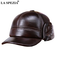 LA SPEZIA Winter Baseball Caps with Fur Earflaps Men Genuine Cow Leather Warm Thick Duckbill Hat Male Luxury Brown Leather Hat(China)