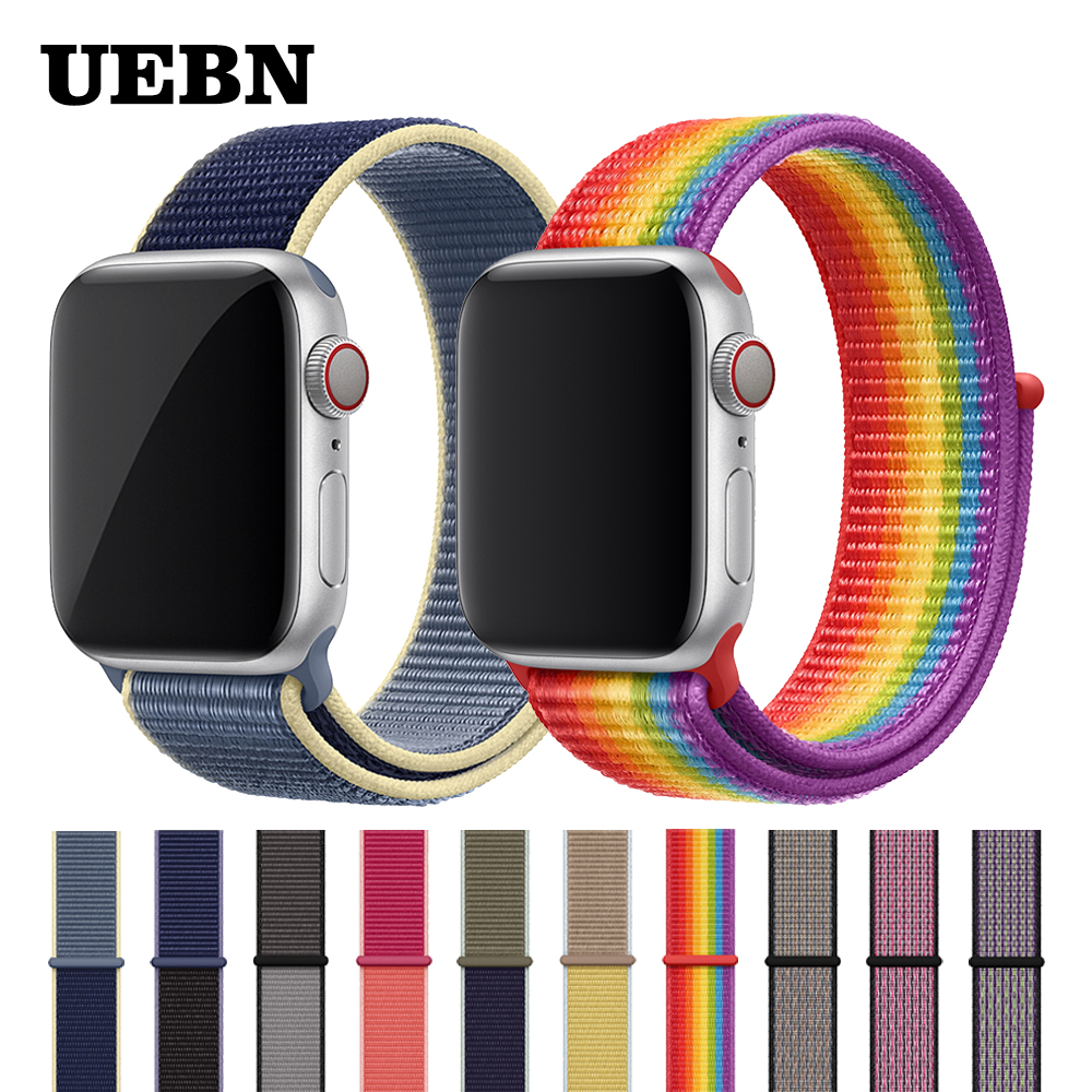 UEBN Strap For Apple Watch  Series 5 4 3 Band 44mm/40mm Sport Loop For Iwatch Band 5 42mm 38mm Strap Bracelet Nylon Watchband