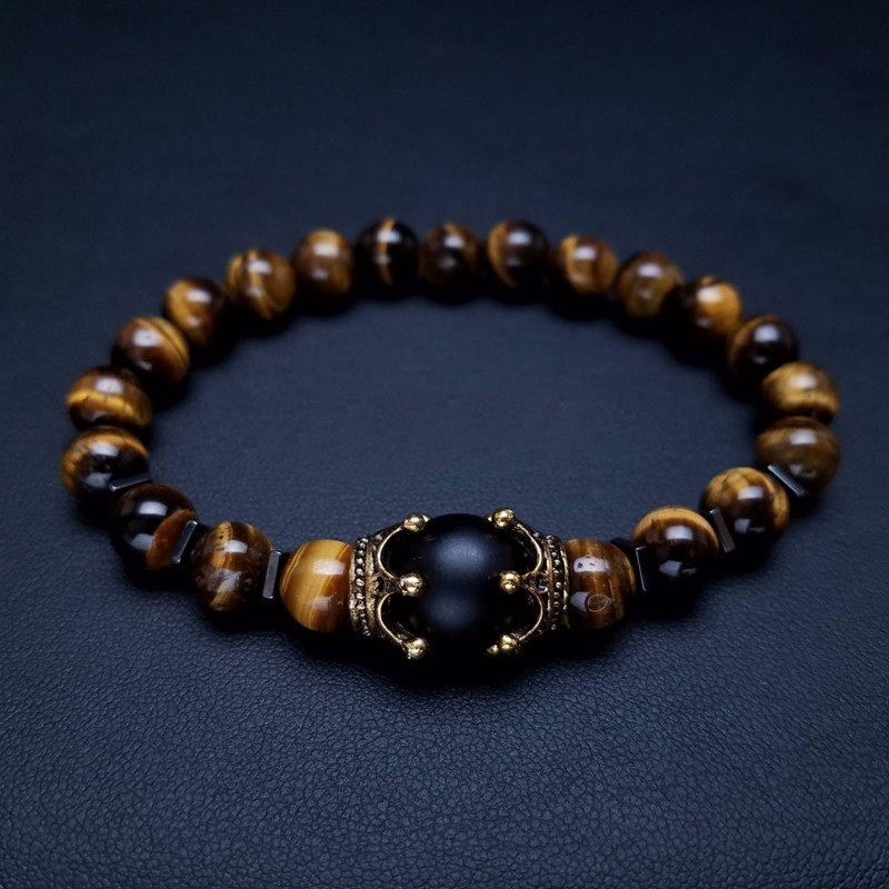 Vintage Crown Charm Bracelet for Men Fashion Luxury High quality Tiger eye stone bead Bracelets Jewelry Male Pulseira bileklik