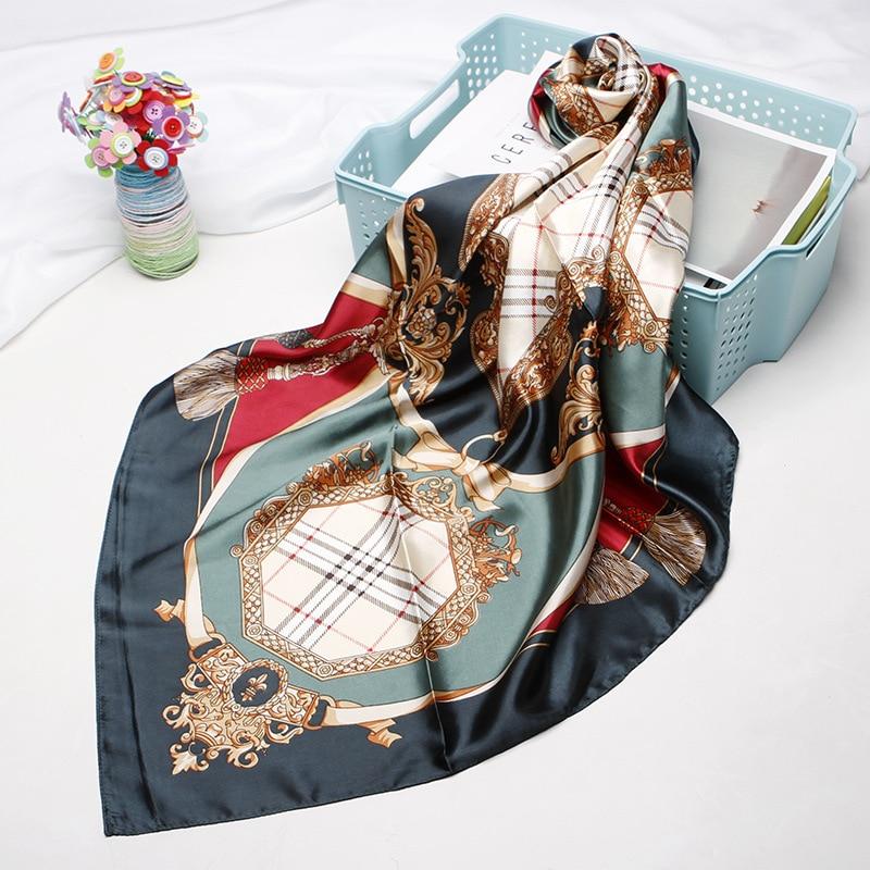 Print Satin Square Head Hijab Scarfs For Ladies Shawls 90cm Bandana Female Muffler Scarf Silk Scarves Women
