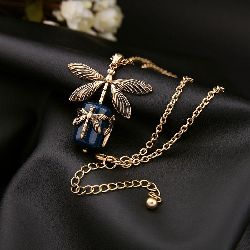 Balanbiu cor de ouro do vintage liga libélula pingente colar para mulher longa camisola corrente azul escuro formica colar acessórios