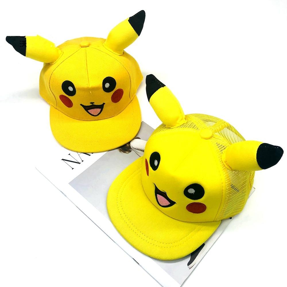 Anime Pokemon Cute Pikachu Cosplay Hat Unisex Demo Rabbit Ears Hats Cotton Baseball Cap Street Party Adjustable Travel Caps New