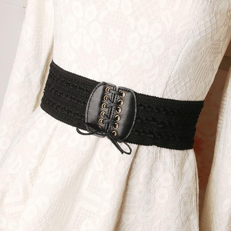 Fashion Women Belt Elastic Cummerbunds Imitation Leather Girdle Women Accessories Wide Waistband Belts For Wedding Party