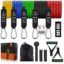 Top 11 unids/set bandas de resistencia de látex, correas de tobillo de anclaje para puerta de gimnasio, equipo de gimnasio, Yoga, ejercicio, Fitness, bucle de banda con tubos