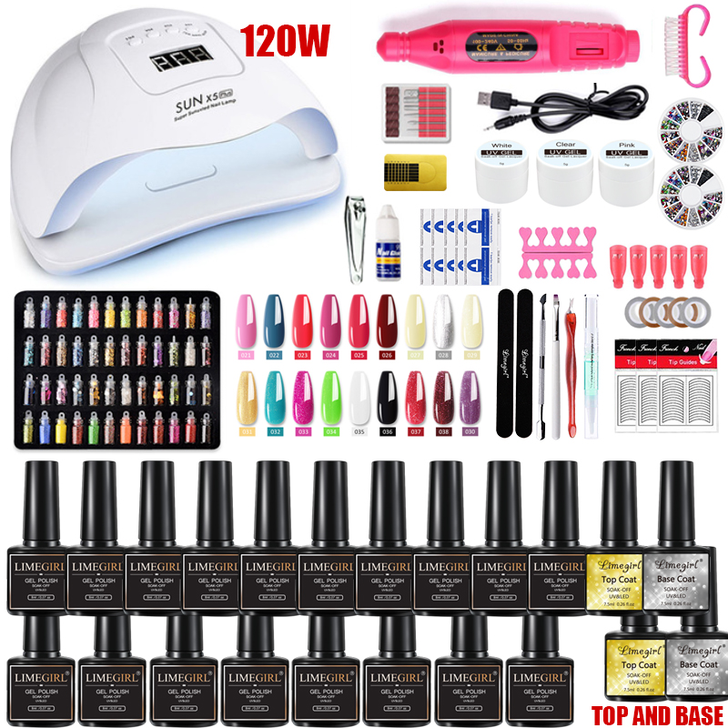 Nail-Set Led-Lamp-Dryer Electric-Nail-Drill Soak-Off-Manicure-Set UV with 120W 18/12pcs
