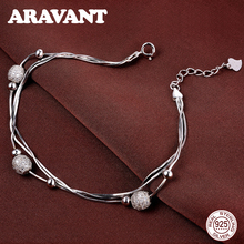 925 Sterling Silver 3 Layers Snake Chain With Scrub Ball Charm Bracelets Chain Adjustable Bracelet For Women Wedding Jewelry