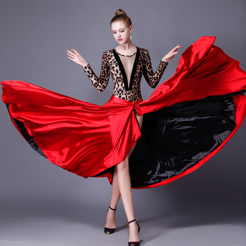 Performance Dancing Clothing Women Red Black Hook Loop Spanish Flamenco Skirt Plus Size Female Gypsy Girls Satin Silk Dress