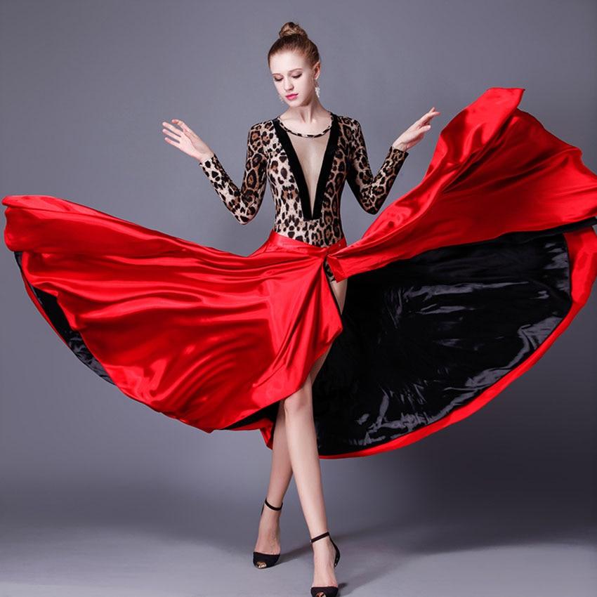 Performance Dancing Clothing Women Red Black Hook Loop Spanish Flamenco Skirt Plus Size Female Gypsy Girls Satin Silk Dress