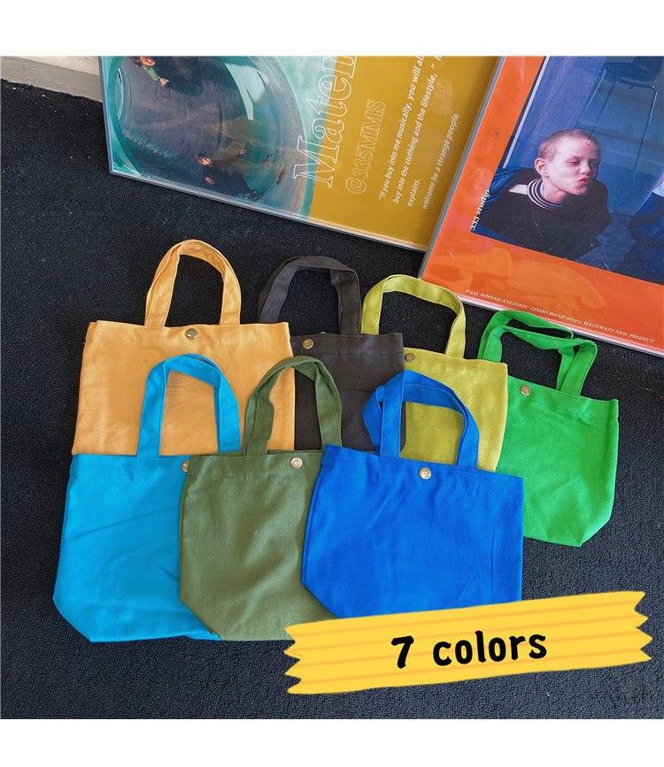 Solid Color Handbag Concise Canvas Bag For Sweet Girl Children Tutorial Bag Portable Shopping Bag Student Supply