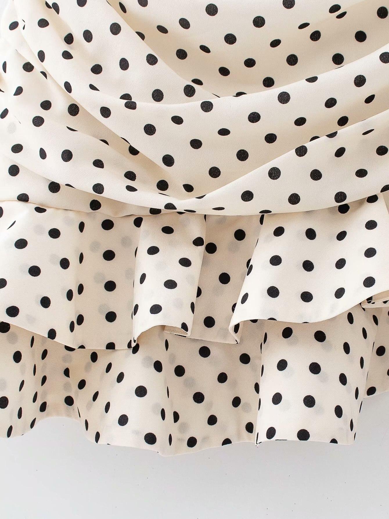 Polka Dot Print Pleated Asymmetrical Skirt 11
