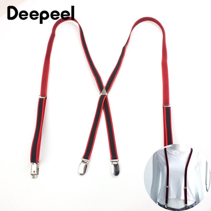 Deepeel 1pc 1.5X108cm Polyester Elastic Band Strap Unisex 4 Clip X Type Adjustable Suspenders Skirt Pants Suspender Strap SP058