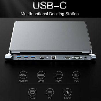 10 в 1 Тип C концентратор к HDMI 4K концентратор 3,0 Тип C концентратор RJ45 VGA адаптер разветвитель USB C 3,5 мм аудио DP концентратор для MacBook Pro Samsung