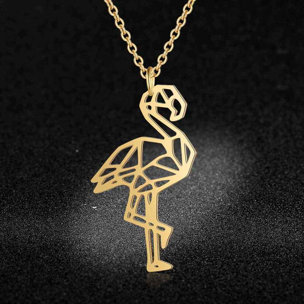 Vnistar Unique Necklaces Amazing Quality 100% Stainless Steel  Animal Flamingo Necklace for Women Fashion Jewelry JN024