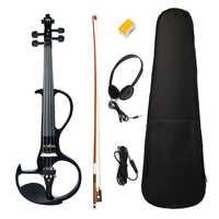 Professionelle 4/4 Elektrische/Stille Violine 4 Strings Schwarz mit Ebenholz Zubehör Konzert Bühne Leistung Streich Instrument