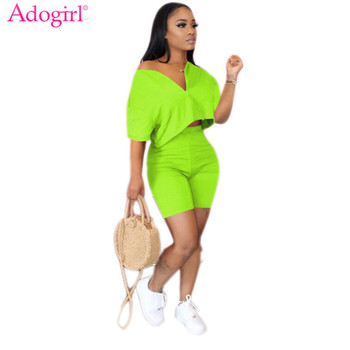 Adogirl S-3XL Women Solid Summer Casual Two Piece Set Sexy V Neck Short Sleeve T Shirt Crop Top High Waist Shorts Home Tracksuit