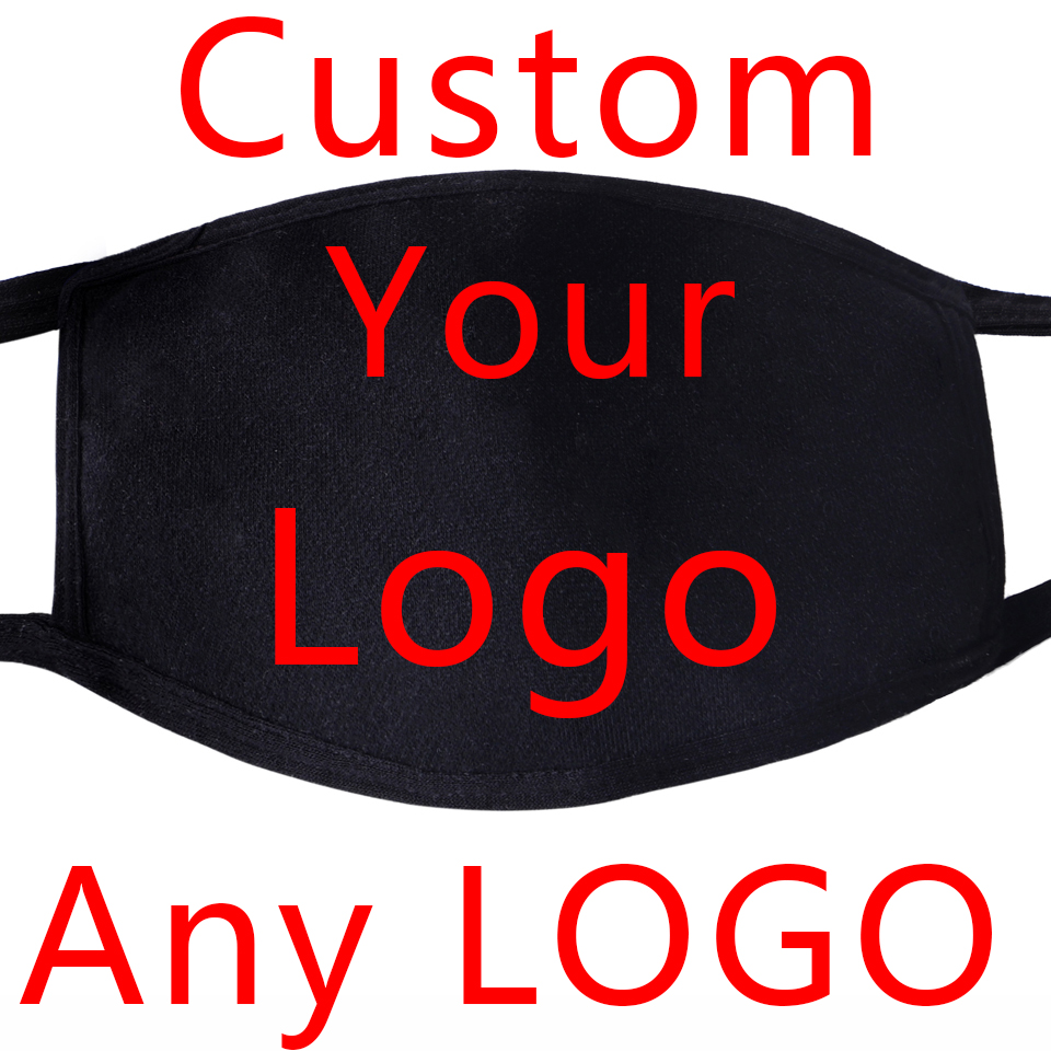 Any Logo Design Style Custom Made Your Logo Mask Face Mask Mouth Fabric Anti Dust Unisex Black Muffle Dustproof Facial Masks