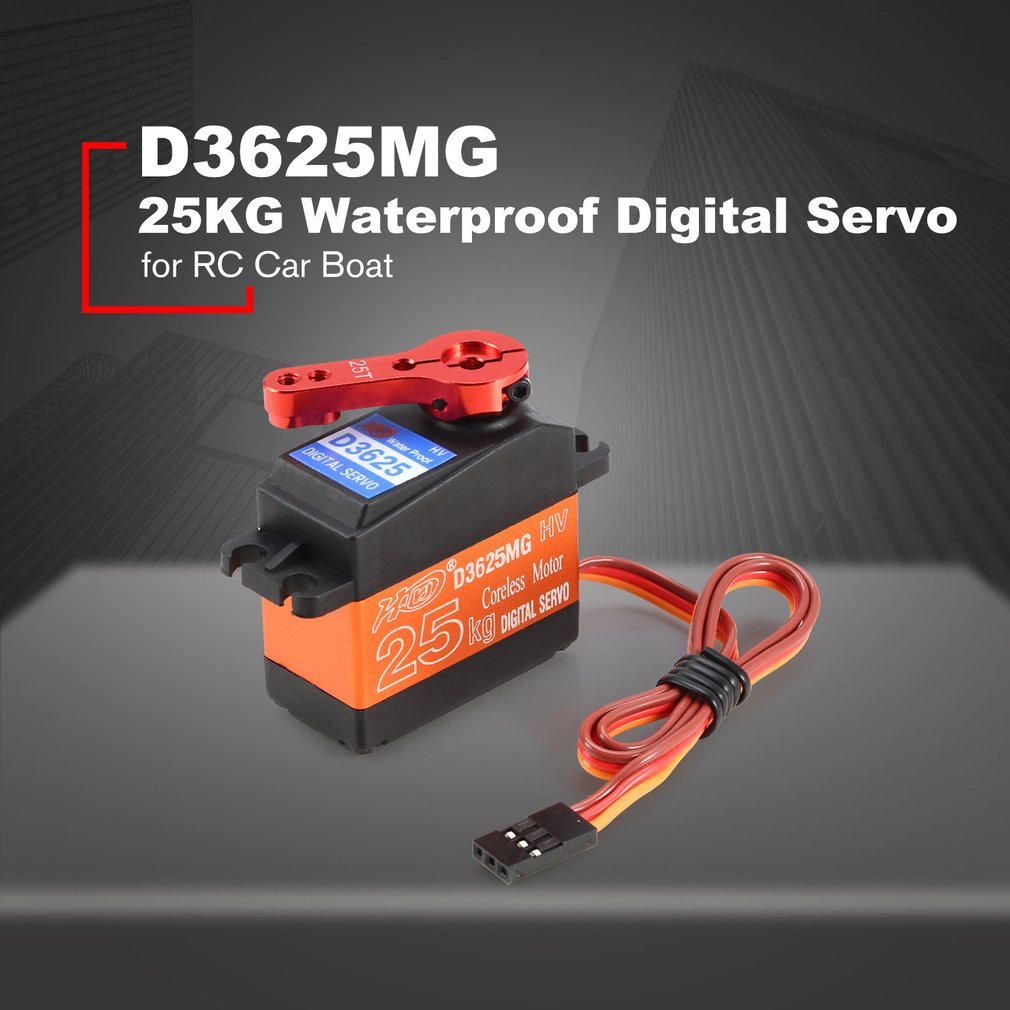 25KG 180' Waterproof Half Metal Steering Digital Metal Gear Coreless Servo with High Torque for RC Car Boat Robot Model Parts