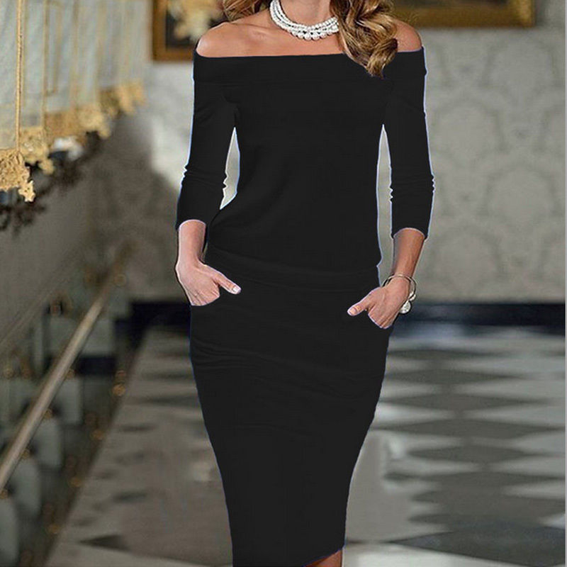 Women Club <font><b>Bodycon</b></font> <font><b>Dress</b></font> 2019 New Style Long Sleeve Slash Neck <font><b>Sexy</b></font> Night Club Wear Black <font><b>Blue</b></font> Celebrity Party <font><b>Dresses</b></font> XL image