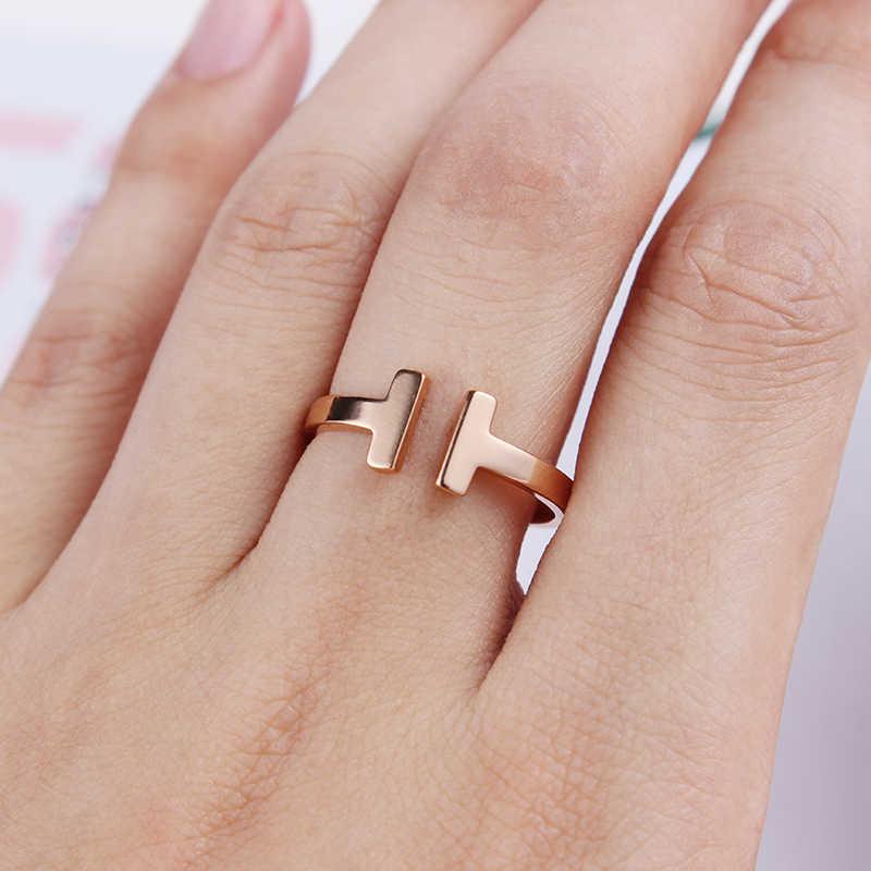 สแตนเลสสตีลแหวนเปิดหัวใจ Cubic Zirconia Cuff หมายเลขแหวนผู้หญิงเครื่องประดับ T Anillos Mujer