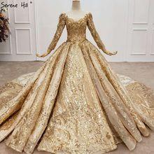Robe de mariée dorée luxueuse à manches longues, col rond, haut de gamme, robe de mariée, avec coussin, fabrication de perles, dubaï, HX0130, 2020