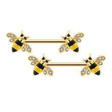 BODY PUNK Body Piercing gioielli Bee capezzolo bilanciere per donna uomo Qute anelli per capezzoli
